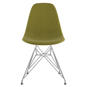 Mid Century Eiffel Side Chair Avocado Green Stainless Steel With Brushed Nickel Finish Dining