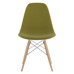 Mid Century Dowel Side Chair Avocado Green Natural Wood Legs Dining