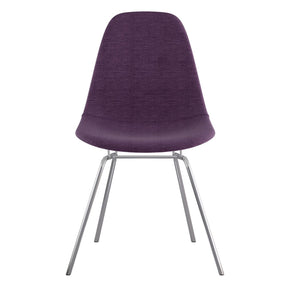 Mid Century Classroom Side Chair Plum Purple Stainless Steel With Brushed Nickel Finish Dining