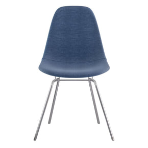 Mid Century Classroom Side Chair Dodger Blue Stainless Steel With Brushed Nickel Finish Dining