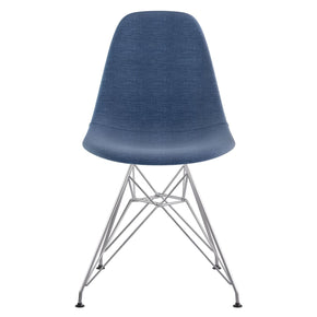 Mid Century Eiffel Side Chair Dodger Blue Stainless Steel With Brushed Nickel Finish Dining