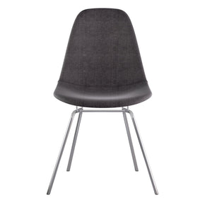 Mid Century Classroom Side Chair Charcoal Gray Stainless Steel With Brushed Nickel Finish Dining