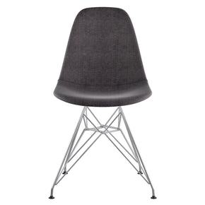 Mid Century Eiffel Side Chair Charcoal Gray Stainless Steel With Brushed Nickel Finish Dining