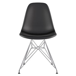 Mid Century Eiffel Side Chair Milano Black Stainless Steel With Brushed Nickel Finish Dining