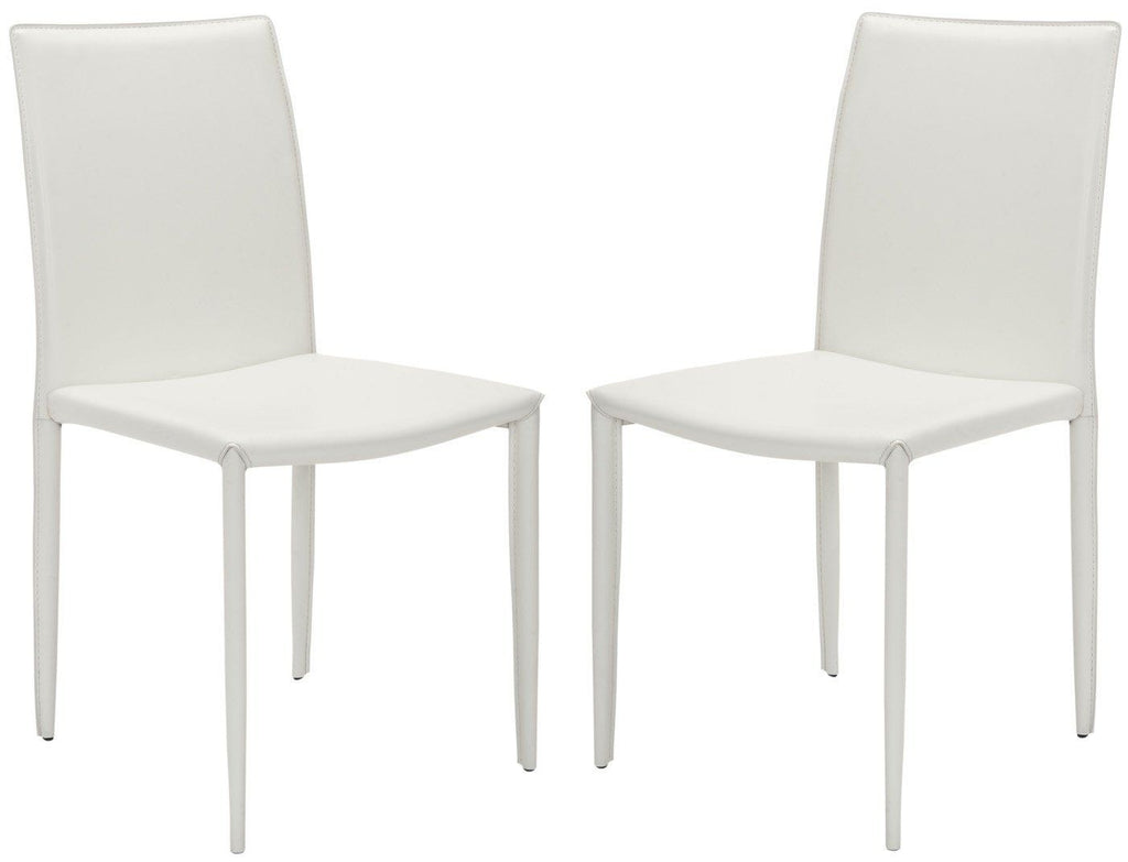 Karna Dining Chair White (Set Of 2) Bonded Leather