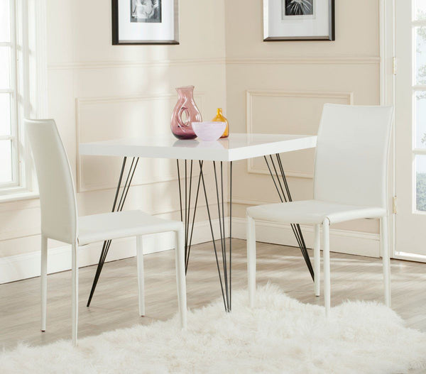 Karna Dining Chair White Croc (Set Of 2) Bonded Leather