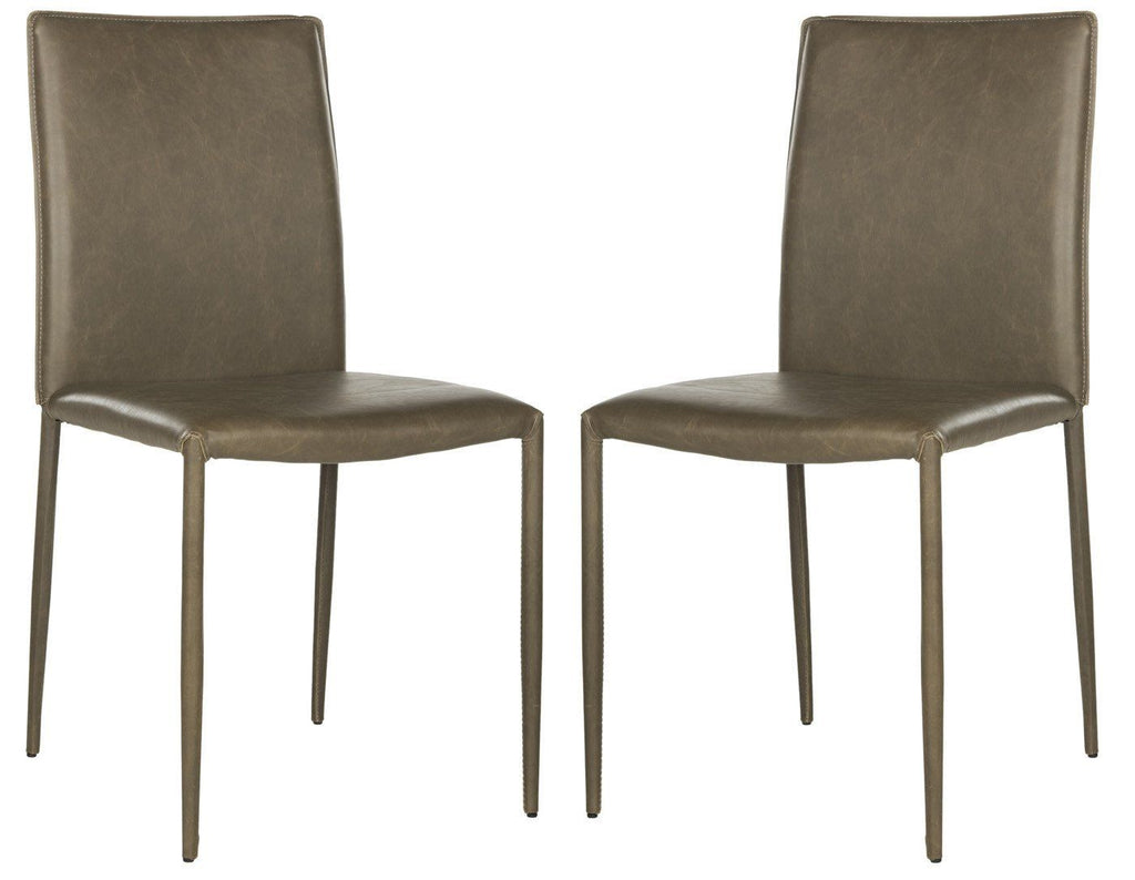 Karna Dining Chair Antique Brown (Set Of 2) Bonded Leather