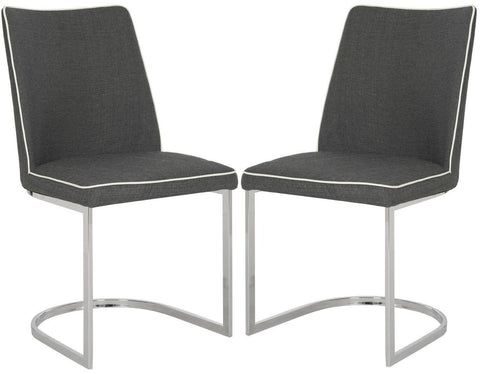 Parkston Side Chair Dark Grey&white (Set Of 2) Dining