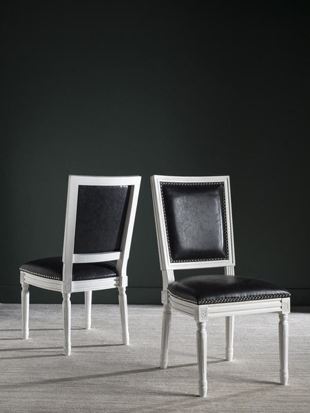 Buchanan Rect Side Chair Black Pu (Set Of 2) Dining