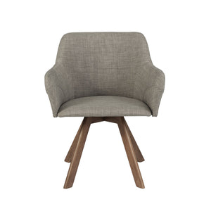 Sampson Arm Chair In Light Gray Fabric With Walnut Legs - Set Of 2 Dining