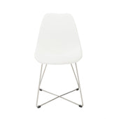 Anahita Dining Chair In White Polyurethane With Brushed Stainless Steel Legs - Set Of 4