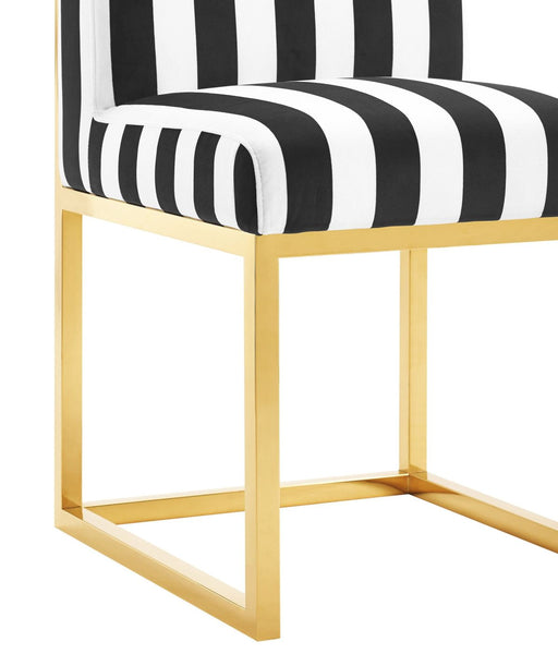 ... Haute Paris Black And White Velvet Chair With Gold Legs Dining ...