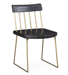 Madrid Black Pine / Brass Dining Chair (Set Of 2)