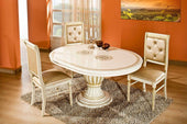 Modrest Rossella - Italian Classic Beige And Gold Dining Arm Chair