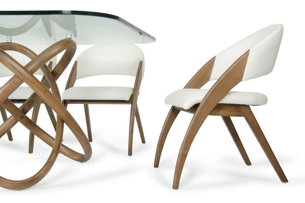 Modrest Lucas Modern Cream & Walnut Dining Chair