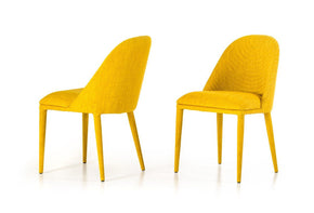 Modrest Brooke Modern Yellow Fabric Dining Chair (Set Of 2)