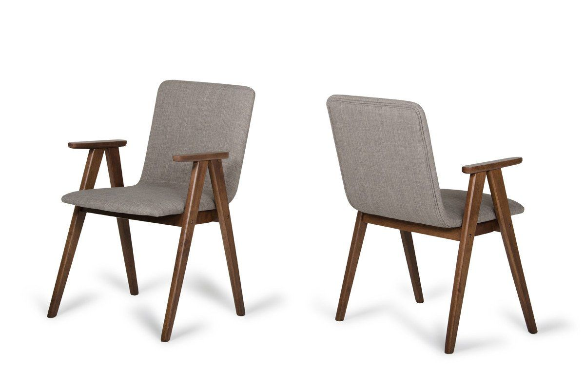 Modrest maddox modern sesame walnut dining chair set of for Walnut dining chairs modern