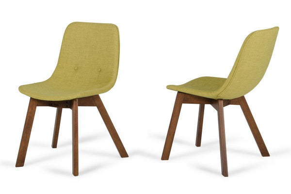 Modrest Laken Modern Green Tea & Walnut Dining Chair (Set Of 2)