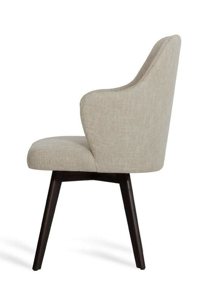 A&x Caligari Modern Oak Off-White Fabric Dining Chair (Set Of 2)