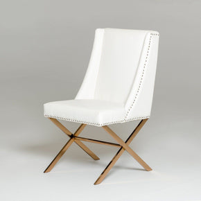 Modrest Modern White & Rose Gold Dining Chair