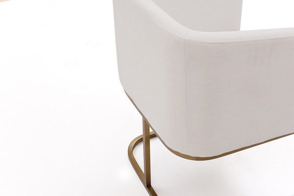 ... Modrest Yukon Modern White & Antique Brass Fabric Dining Chair ... - Modrest Yukon Modern White & Antique Brass Fabric Dining Chair By