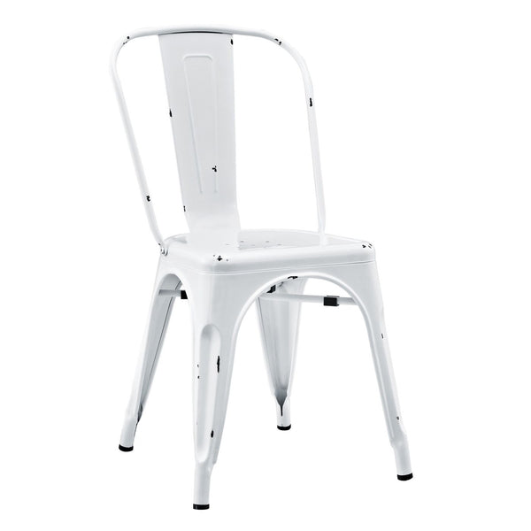 Metal Cafe Chair - Antique White Dining