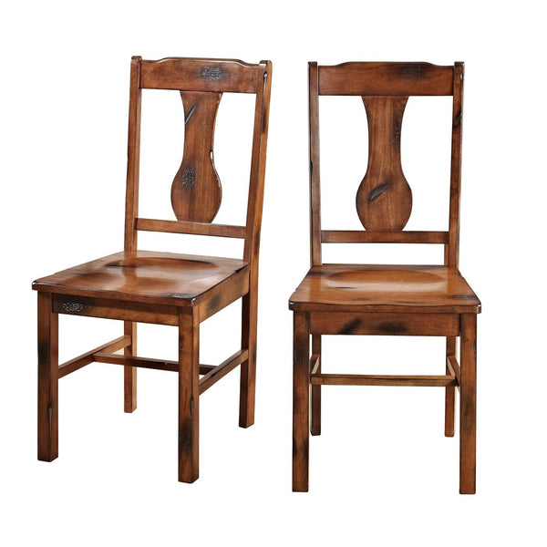 Dark Oak Wood Dining Chairs Set Of 2 Chair