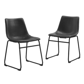 Industrial Vegan Leather Dining Chairs - Black (Set Of 2) Chair