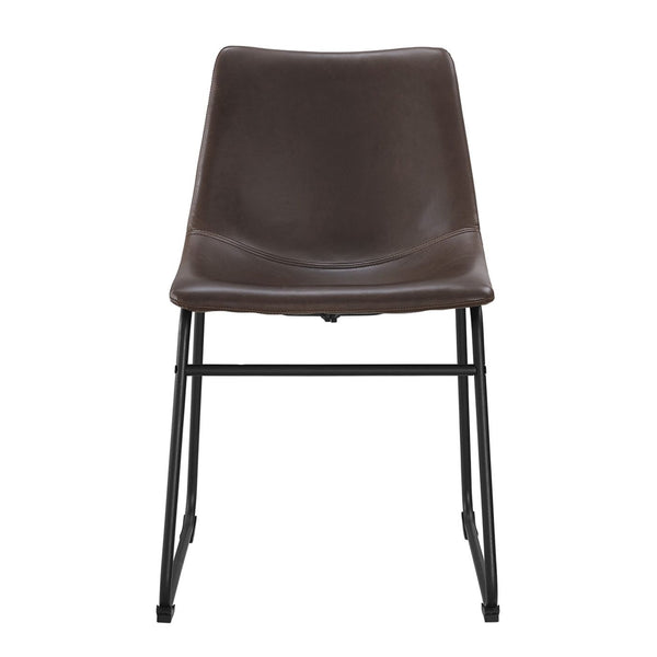 Dining Chairs - Walker Edison CHL18BR Industrial Vegan Leather Dining Chairs - Brown (Set of 2) | 814055025167 | Only $168.99. Buy today at http://www.contemporaryfurniturewarehouse.com