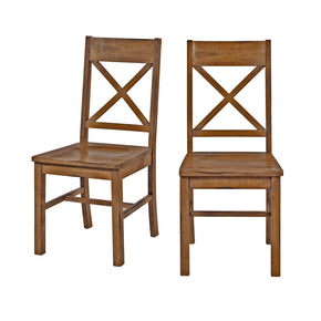 Antique Brown Wood Dining Chairs Set Of 2 Chair