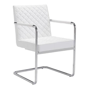 Quilt Dining Chair White Chromed Steel
