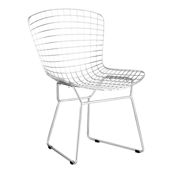 Wire Dining Chair Chrome Chromed Steel (Set Of 2) ...