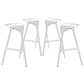 Launch Stacking Bar Stool Set Of 4 White Dining