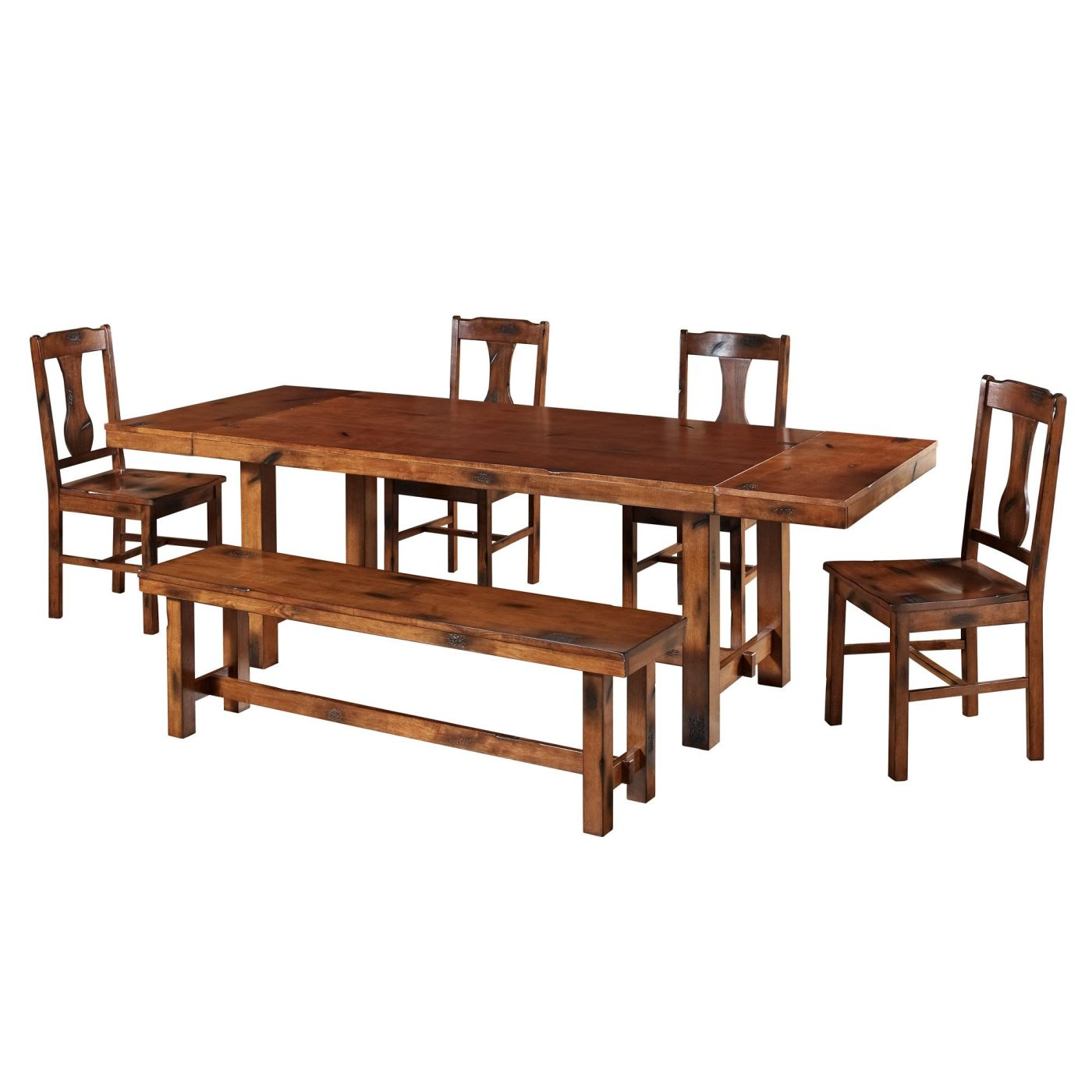 Dark Wood Dining Set: Buy Walker Edison C60H2DO 6-Piece Dark Oak Wood Dining Set At Contemporary Furniture Warehouse