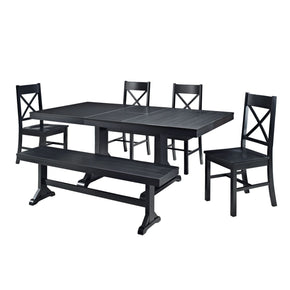 6-Piece Black Wood Dining Set