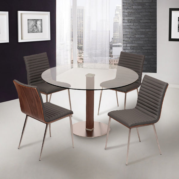 Buy Armen Living LCCADIB201TO Cafe Brushed Stainless Steel Dining Table  with Clear Glass at Contemporary Furniture Warehouse