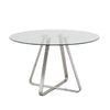 Cameo Modern Dining Table In Stainless Steel and Clear Glass