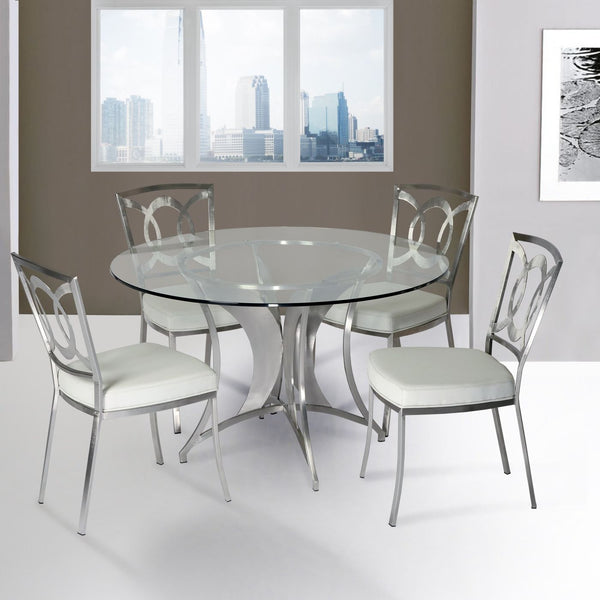 Drake Modern Dining Table In Stainless Steel With Clear Glass