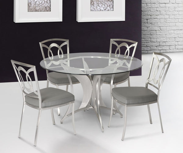 Dining Tables - Armen Living LCDRDIB201TO Drake Modern Dining Table In Stainless Steel With Clear Glass | 638170587481 | Only $999.00. Buy today at http://www.contemporaryfurniturewarehouse.com