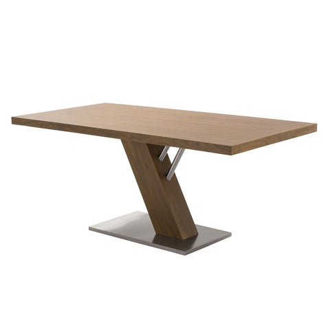 Fusion Contemporary Dining Table In Walnut Wood Top And Stainless Steel