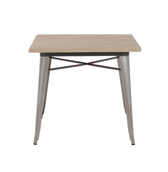 Dining Tables - Design Lab MN LS-9120-GUNLW Sundsvall Clear Gunmetal + Light Elm Wood Top Steel Dining Table 30 | 640746588761 | Only $239.80. Buy today at http://www.contemporaryfurniturewarehouse.com