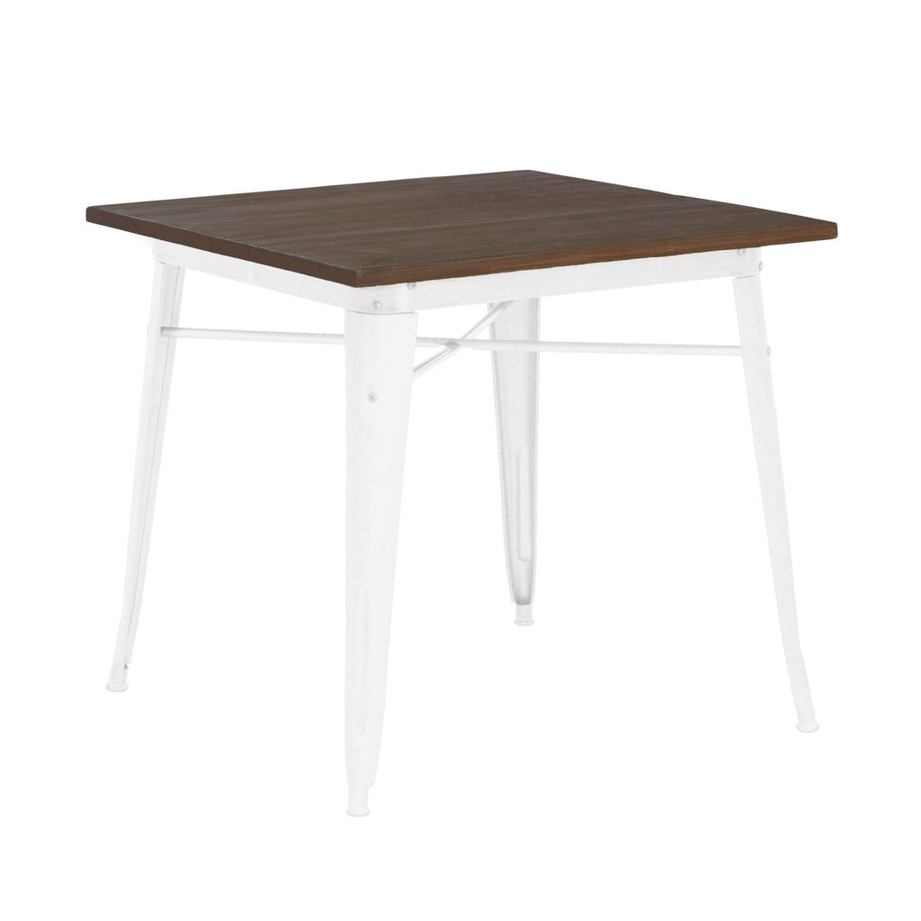 Sundsvall Glossy White + Elm Wood Top Steel Dining Table 30