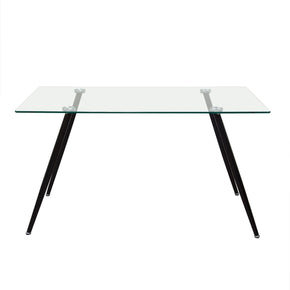Finn Rectangular Glass Top Dining Table With Black Powder Coated Metal Legs