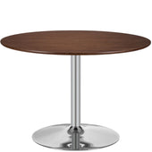 Michaela Round Dining Table Walnut With Chrome Base 43.5