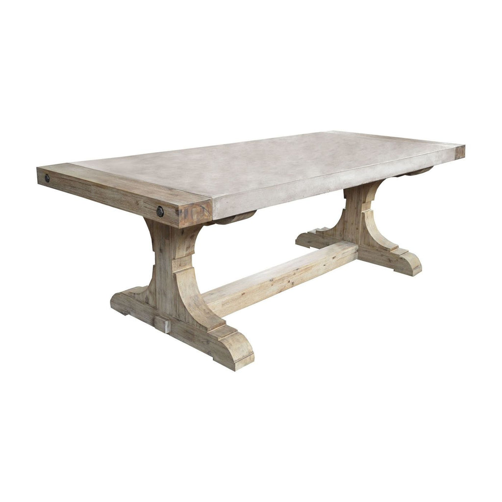 Pirate Concrete And Wood Dining Table With Waxed Atlantic Finish