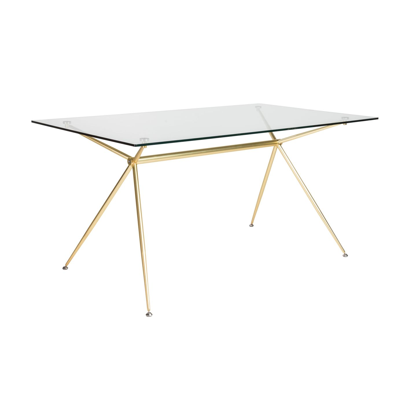 ... Atos 60 Rectangle Dining Table/desk With Clear Tempered Glass Top And  Matte Brushed Gold ...