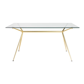 Atos 60 Rectangle Dining Table/desk With Clear Tempered Glass Top And Matte Brushed Gold Base Table