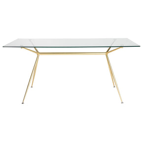 Atos 66 Rectangle Dining Table/desk With Clear Tempered Glass Top And Matte Brushed Gold Base Table