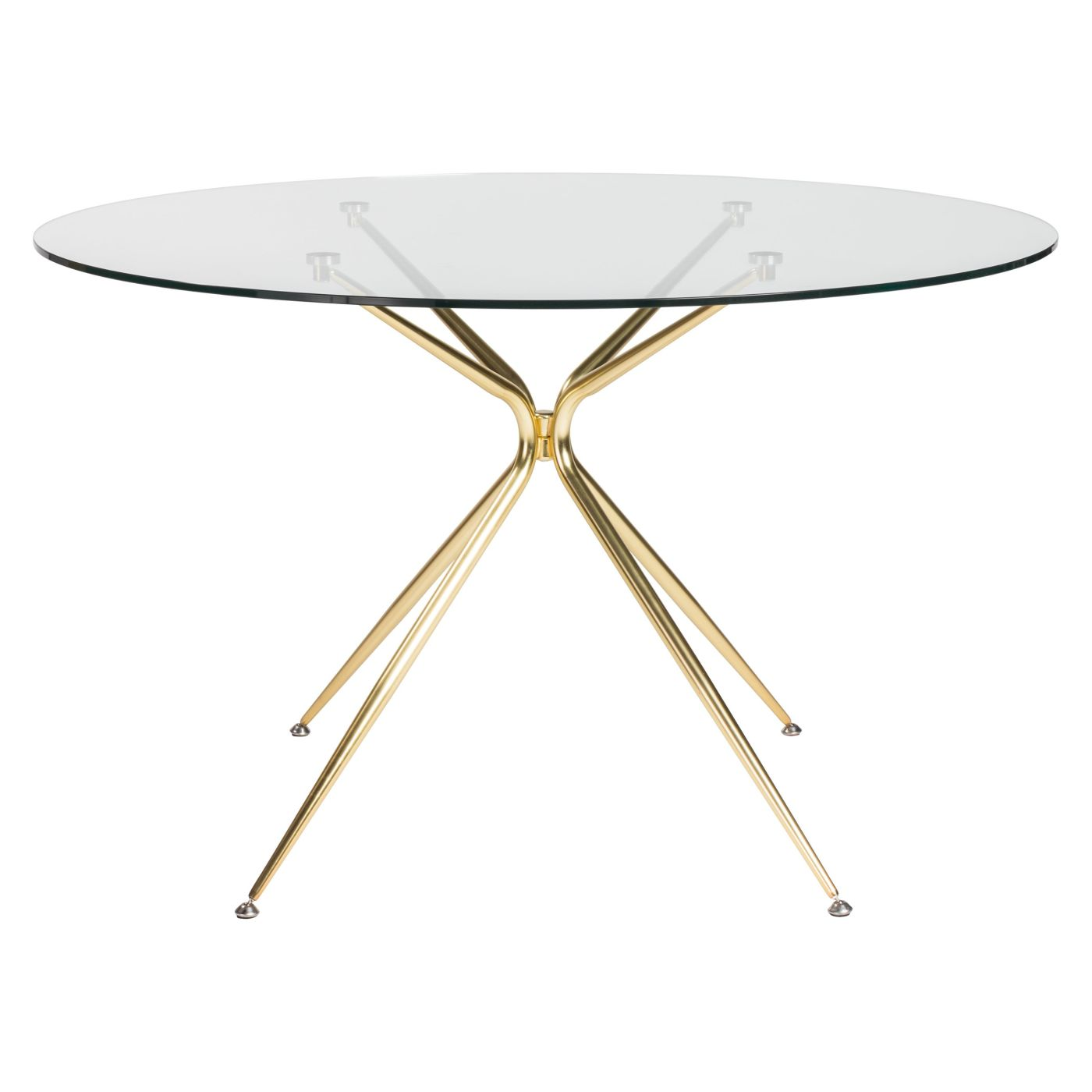Round Table Base Kit.Buy Euro Style Euro 02506mbg Kit Atos 48 Round Dining Table With Clear Tempered Glass Top And Matte Brushed Gold Base At Contemporary Furniture