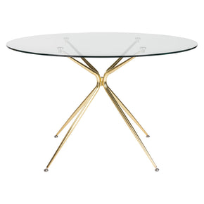 Atos 48 Round Dining Table With Clear Tempered Glass Top And Matte Brushed Gold Base
